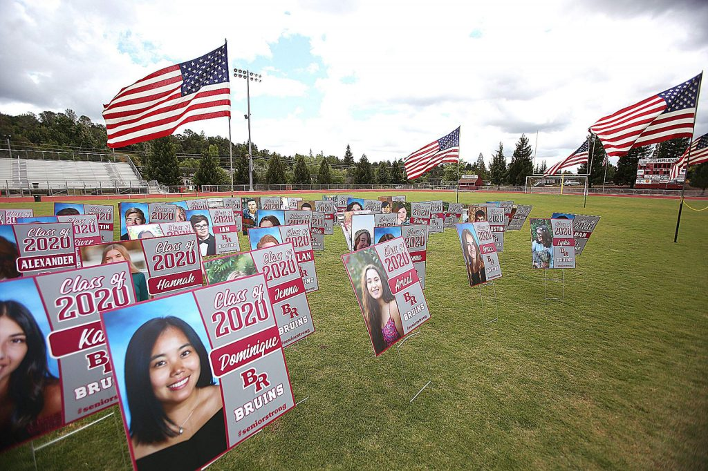 Poster board pictures of the 138 Bear River High School class of 2020 take the place of their physical presence during Bear River's graduation going on this week. The general public is not allowed to attend.