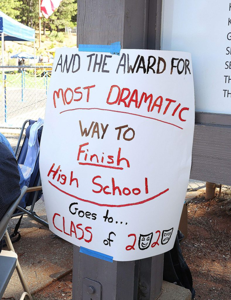 Signs made by school staff adorned the Nevada Union High School campus during Wednesday's drive-thru graduation ceremony.
