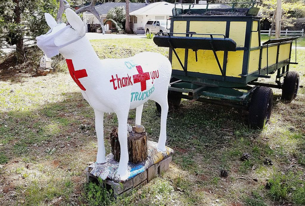 Donna Imsand decorates a deer statue along Highway 174 in Cedar Ridge with holiday or trending themes. The current deer décor is a