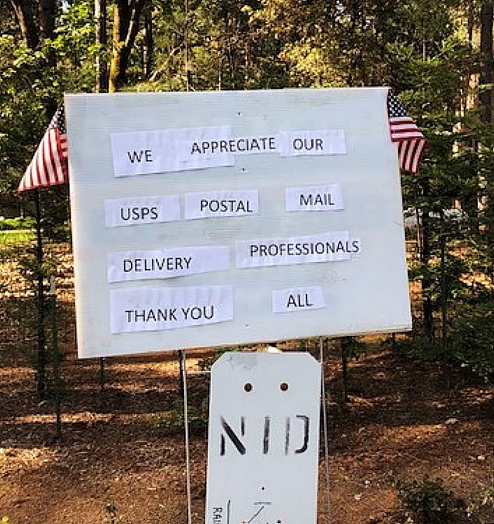 Expressions of gratitude are popping up across Nevada County in the form of signs and goodies for essential delivery workers.