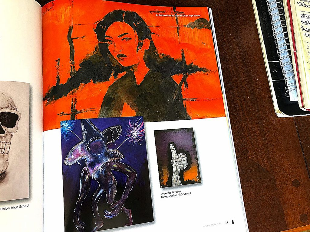 Reflection magazine drawings by Nevada Union High School students Rachael Feeley and Anika Paredes.