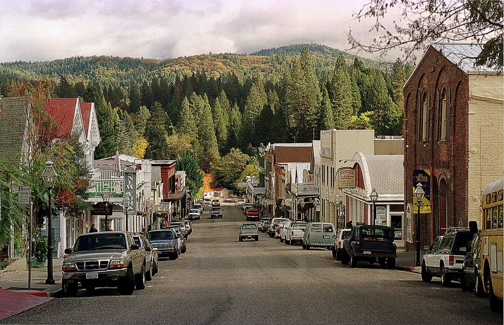 A view down Broad Street in downtown Nevada City.