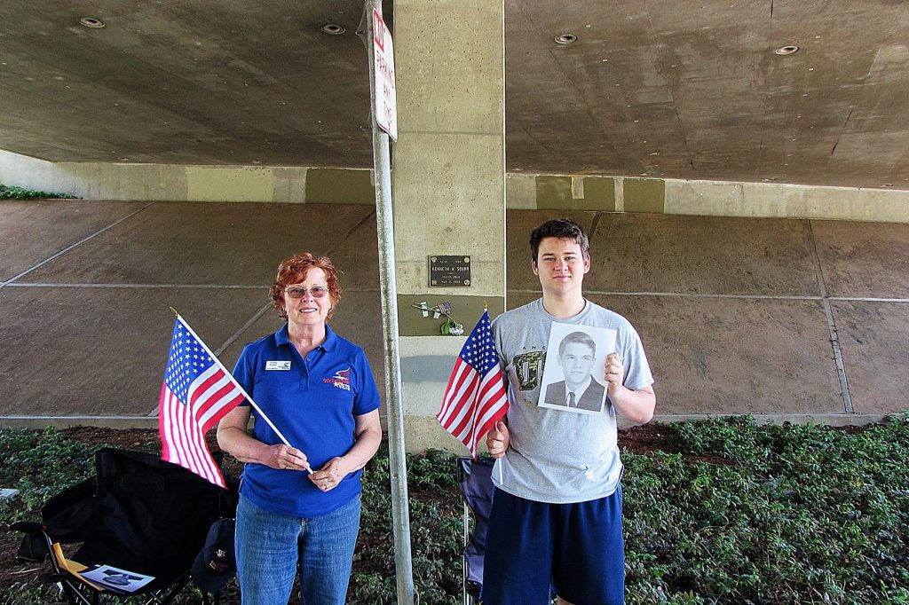 From left, Tammy Becker and Tiernan Reyes. Becker is from Welcome Home Vets, and Reyes is a student.