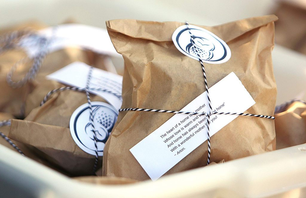 Buho Bakery provided scones with a heartfelt Mother's Day message attached to each package.