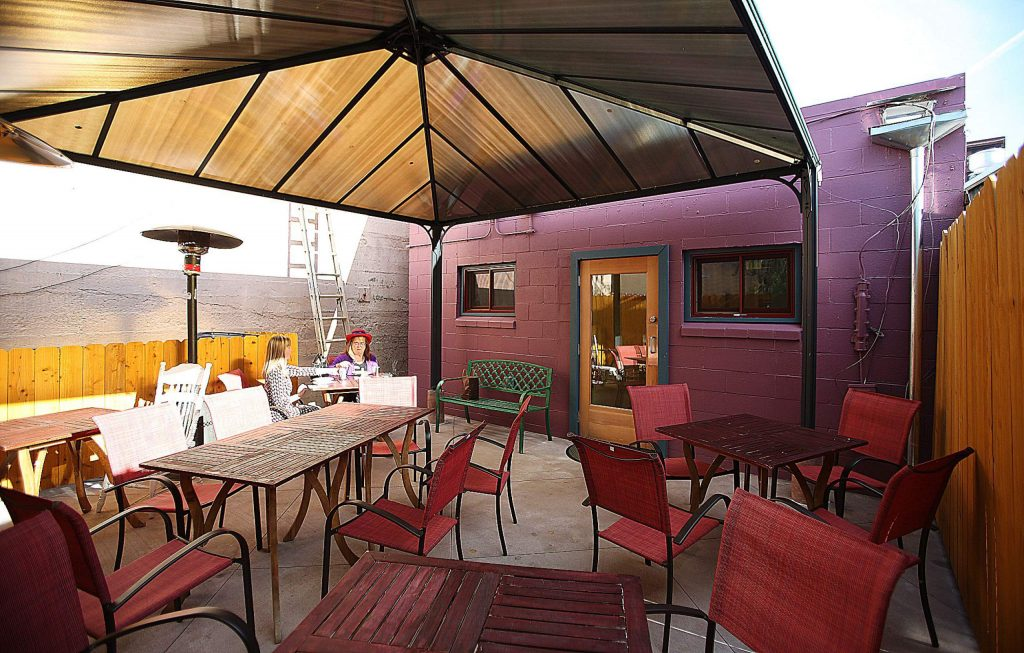 While the interior of Calla Lilly Crepes is available for dine in customers, so is their back patio equipped with portable heaters and covered with a gazebo.