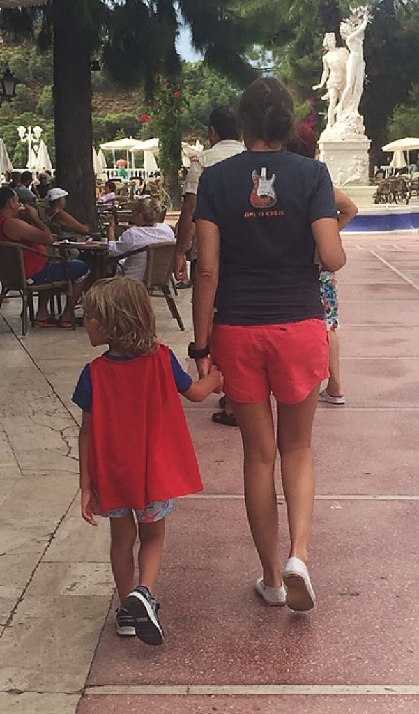 Moms are the best trainers for budding super heroes, with red cape and all. Happy Mother's Day!