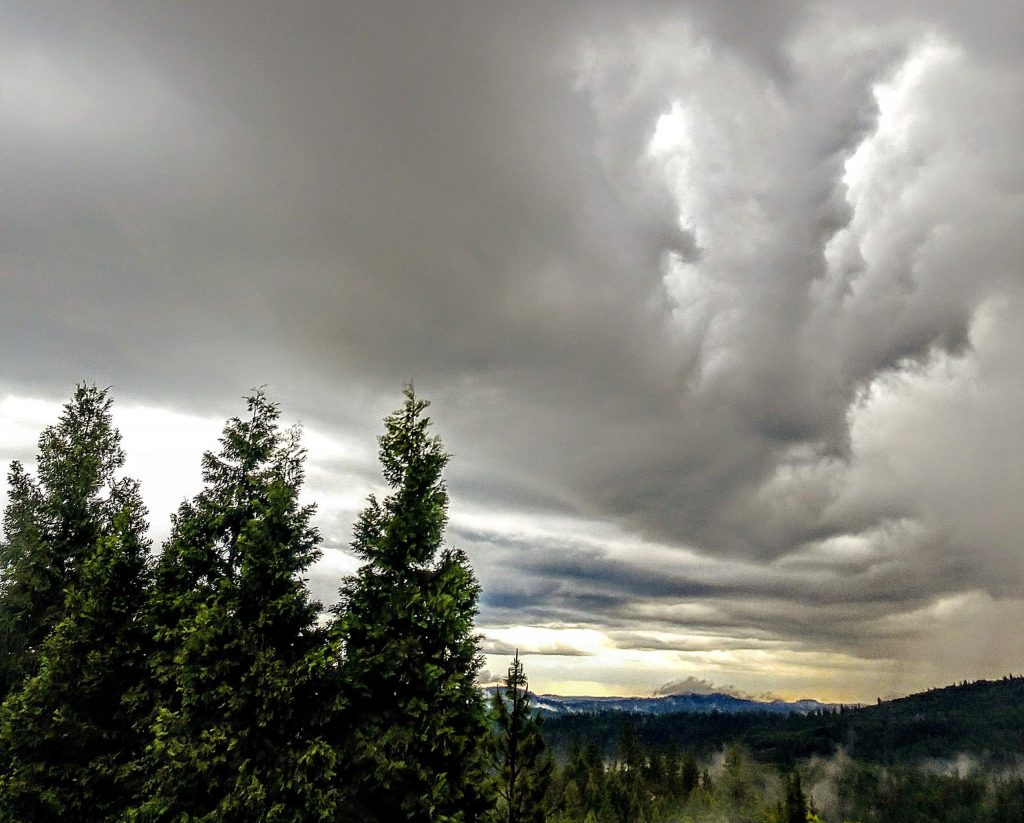 The view from my window in Grass Valley while the storm is approaching.