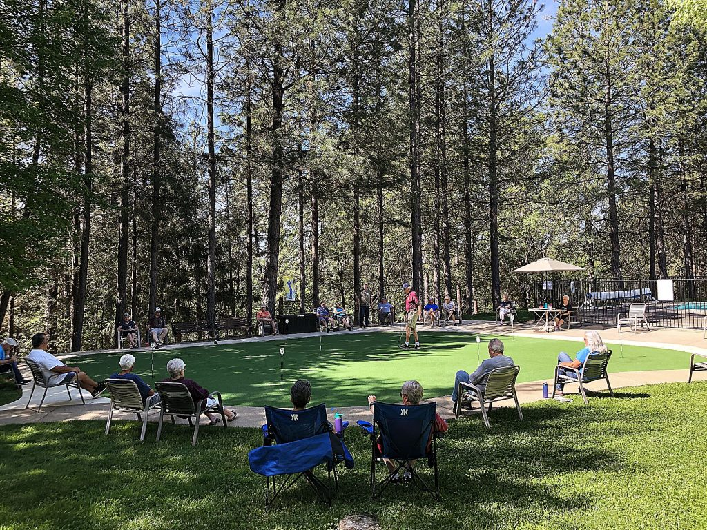 The Ponderosa Pines Putting Tournament is such a hit with residents, dozens of spectators line the putting green each day offering applause and some good natured ribbing, all at a socially responsible distance.