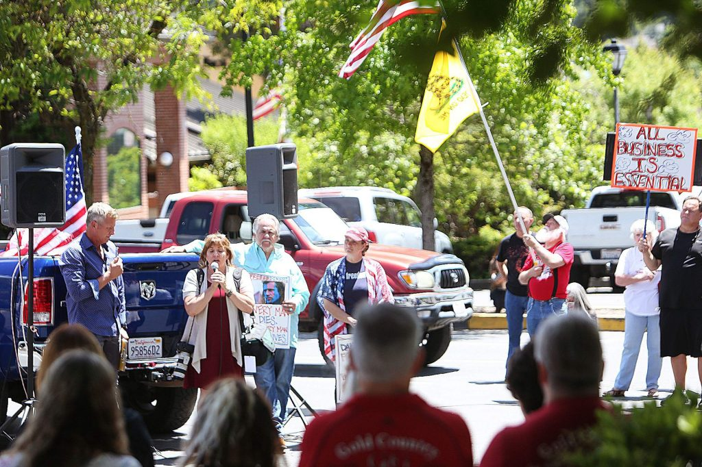 ReOpen Nevada County organizers and protesters gathered in downtown Grass Valley to promote the full reopening of the county.