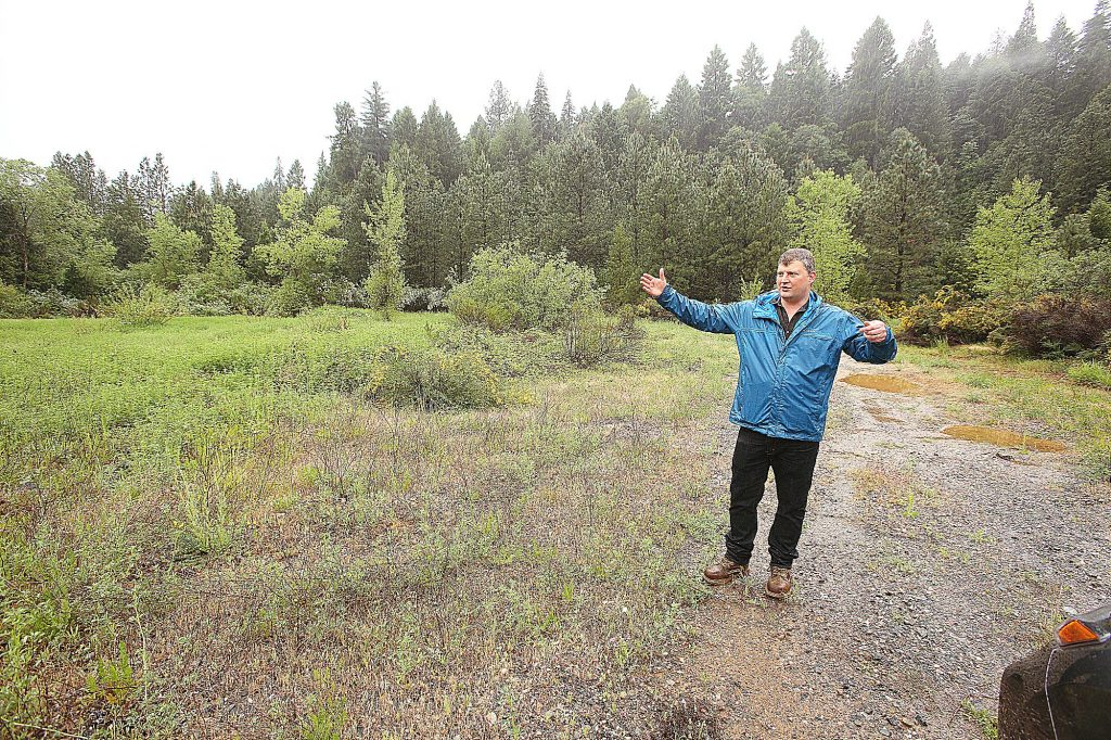 Rise Gold CEO Benjamin Mossman shows off an area of the former Brunswick Mine that would be developed in their plans to reopen the Idaho Maryland Mine.