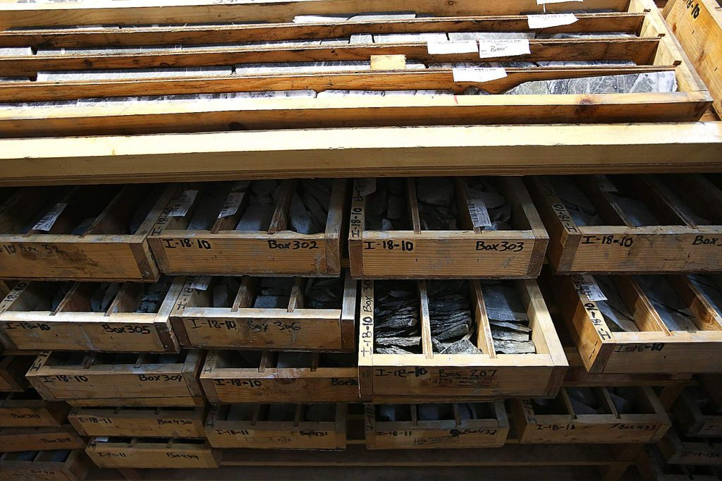 Shelves full of exploratory core samples are sorted in Rise Gold's Grass Valley office.