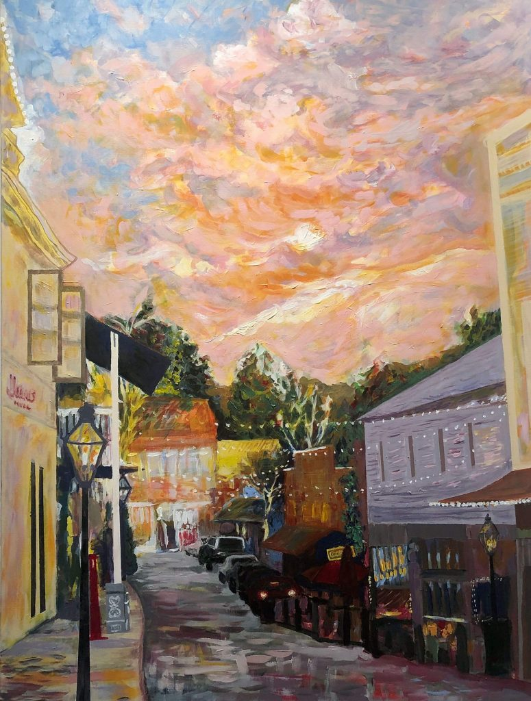 "Acrylic on canvas titled ""View down Commercial Street."