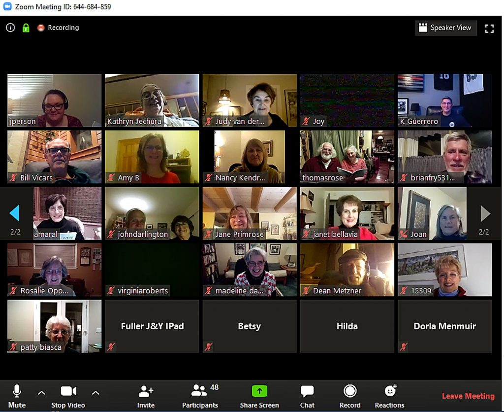 Rehearsals have taken on a different appearance lately for the Music in the Mountains chorus and orchestra members, all of whom are working to get used to using video conferencing to make music together.