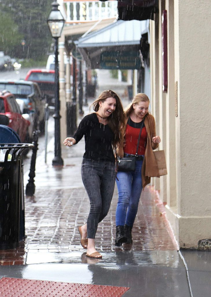 While the majority of the day was quite pleasant in Nevada City, a late afternoon thunderstorm caught many by surprise as folks without umbrellas could be seen dashing to their vehicles.