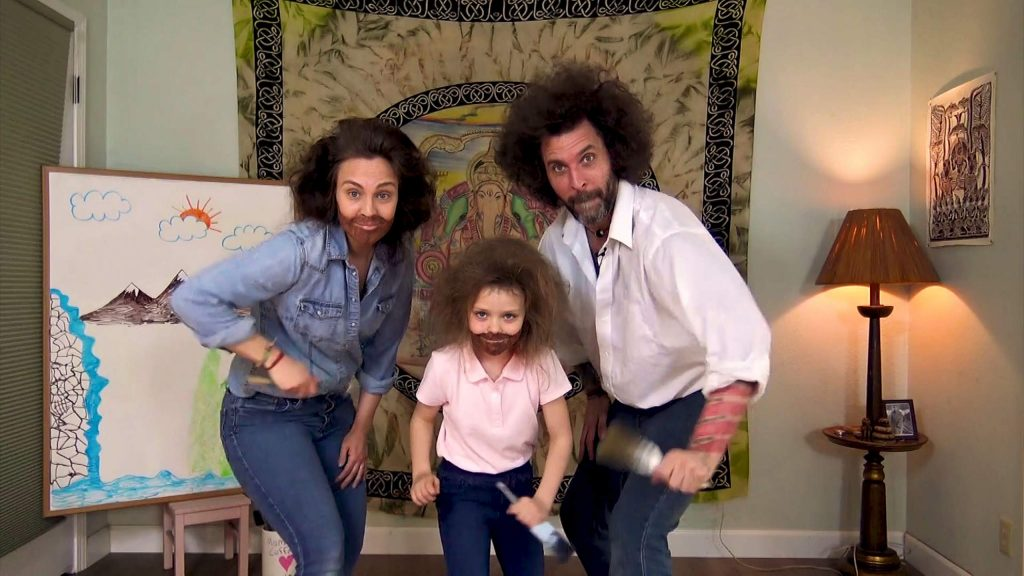 From left, the Szabo family, Kristi, Sequoia and Ashton, produced a video spoof based on the painter, art instructor and television host Bob Ross.