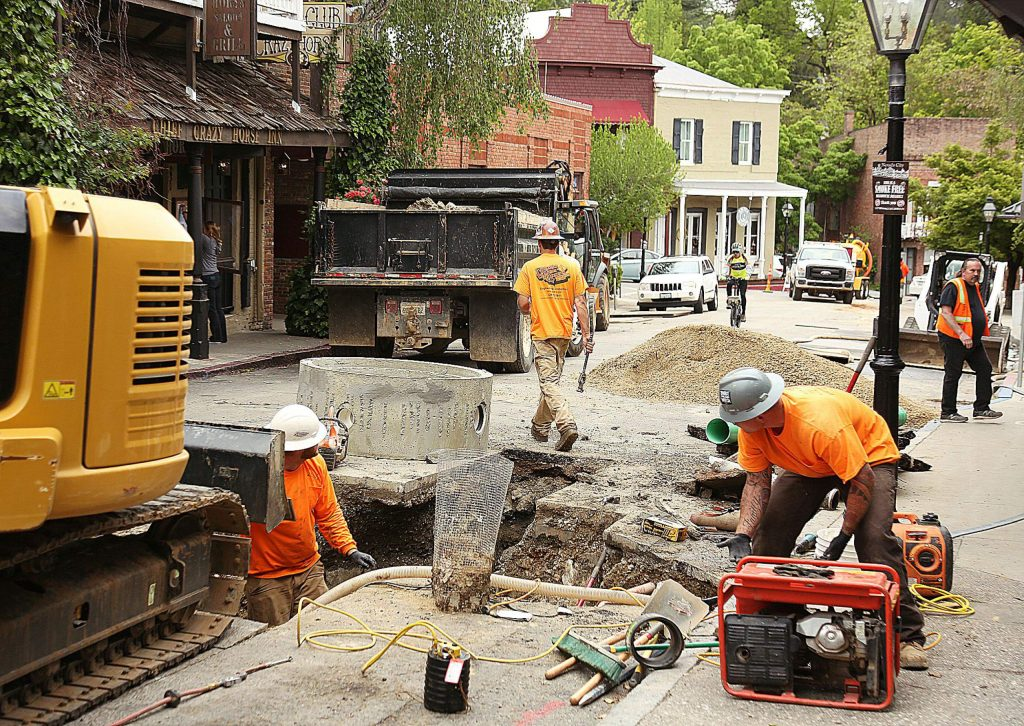 Contractors work on the sewer main replacement project along Commercial Street in downtown Nevada City last month.