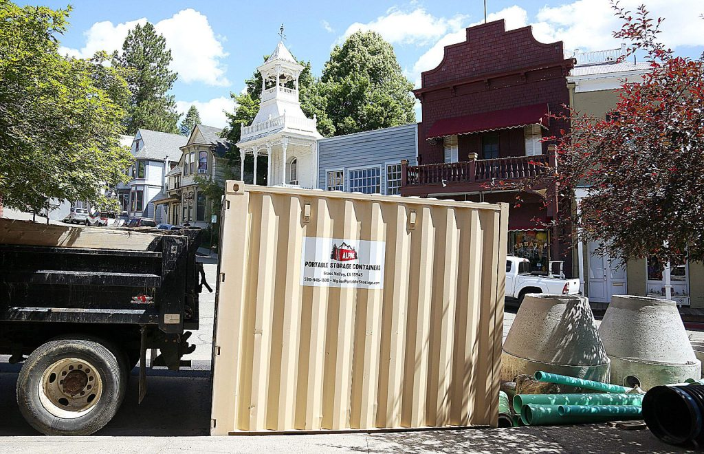Downtown Nevada City's historic skyline is marred by the construction materials left in the roadway along Commercial Street.