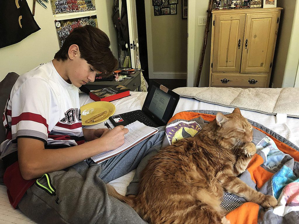 Jamey Styler, a Bear River High School freshman, completes math homework on his bed at home this school year. Finishing up the current school year, there are still many questions for administrators, staff members and students about what is to come next year.