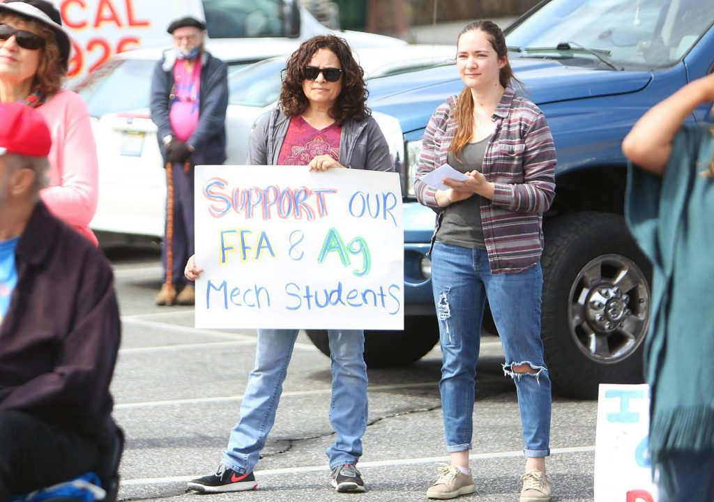 A few dozen people showed up to the downtown Grass Valley gathering to support FFA students and protest the closing the Nevada County Fair.