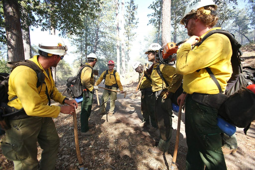 Tahoe Helitack crew 514 was returning to base at White Cloud from the Sunrise Fire in Bangor when they saw the fire. They were some of the first firefighters on scene.