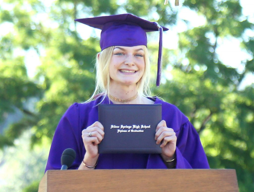 A Silver Springs grad is all smiles on stage after receiving her diploma last week in Grass Valley.