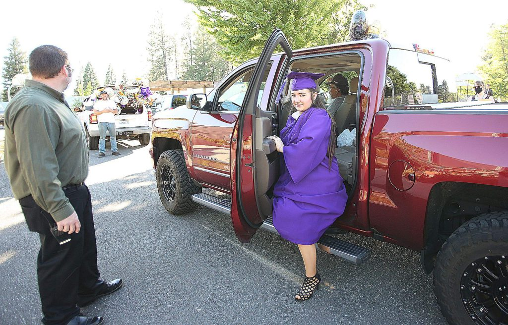 Silver Springs High School graduates of the class of 2020 arrived in a cars and in the back of pickup trucks surrounded by family during last week's ceremony.