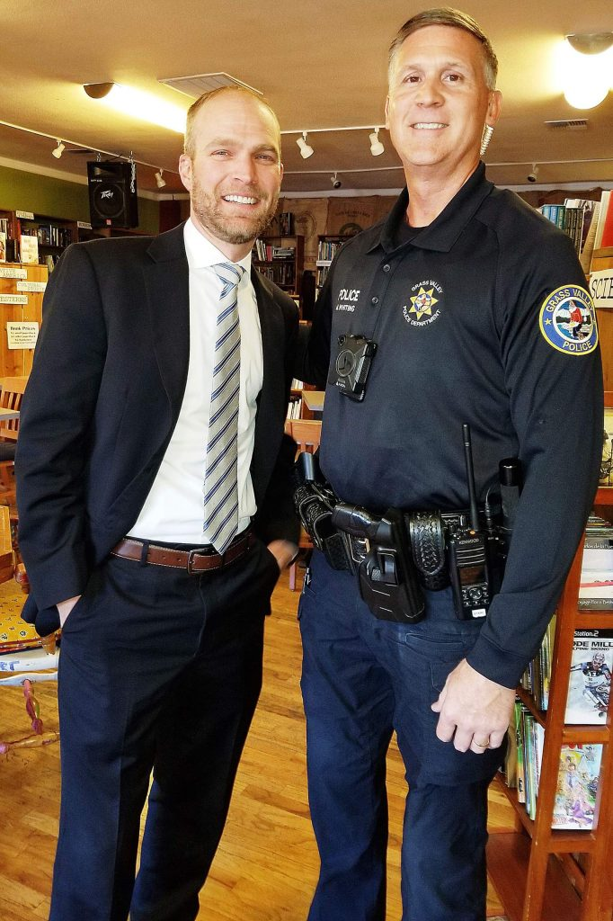 Grass Valley Police Chief Alex Gammelgard, left, says his department is blessed to have retired California Highway Patrol Officer Matt Whiting serve as a GVPD reserve police officer.