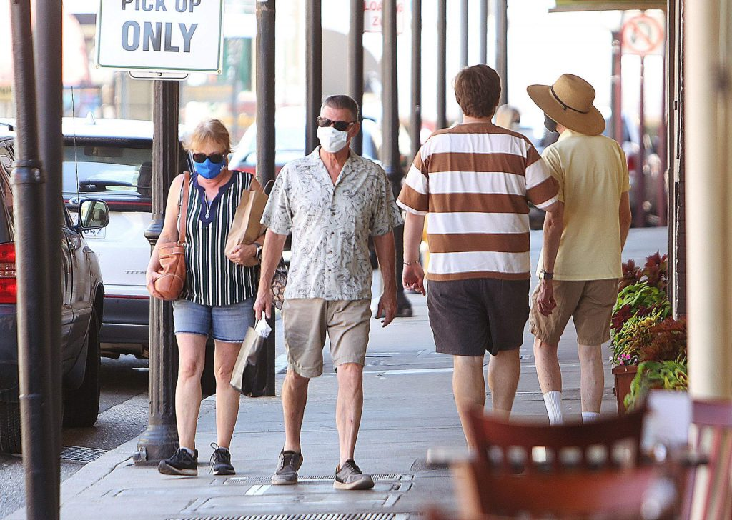 Mask wearers had no problem complying with Governor Gavin Newsom's face covering order Thursday in downtown Grass Valley.