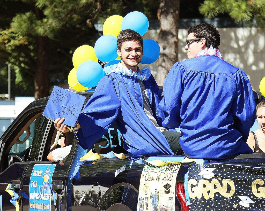 Nevada Union graduate Duke Morales smiles after going through his graduation ceremony late last month at Hooper Stadium.