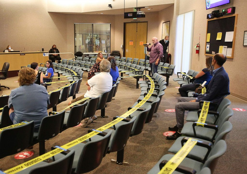 About 20 seats were made available for the public to use in the Nevada County Board of Supervisors chambers Tuesday. Most who spoke during the public comment period were not in favor of wearing masks.