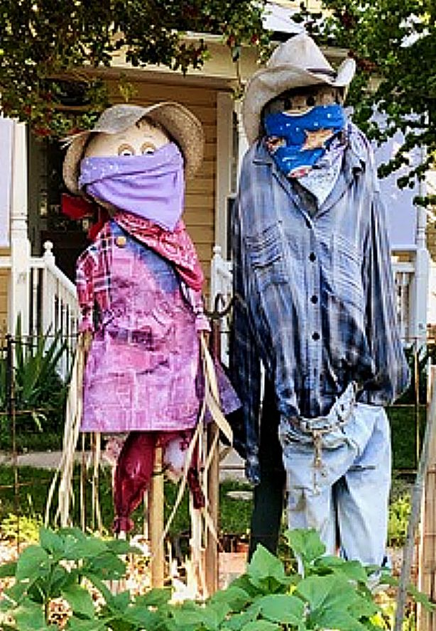 Masked scarecrows in Nevada City.