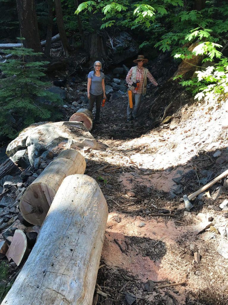 Before and after pictures of Gold Country Trails Council members removing a downed tree trail obstacle from the Pioneer Trail near Spaulding Lake Trail.