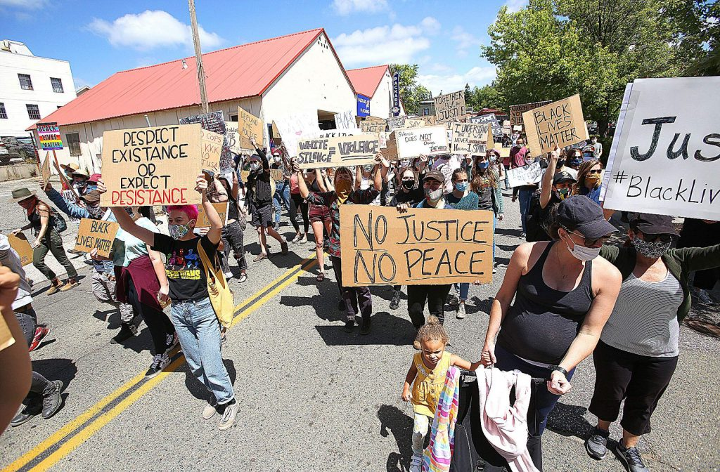 While protesters kept to the sidewalks for the majority of Grass Valley's Black Lives Matter march, on occasion the marchers took to the streets blocking traffic in portions of the downtown area.