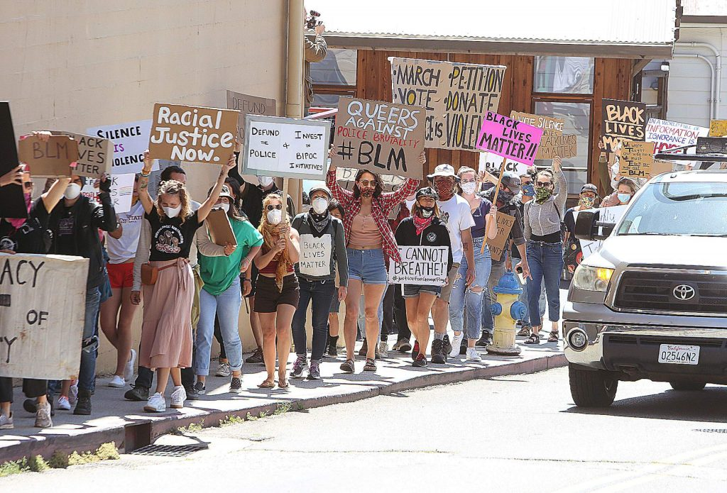 People demanding racial justice took to the streets Saturday in Grass Valley.