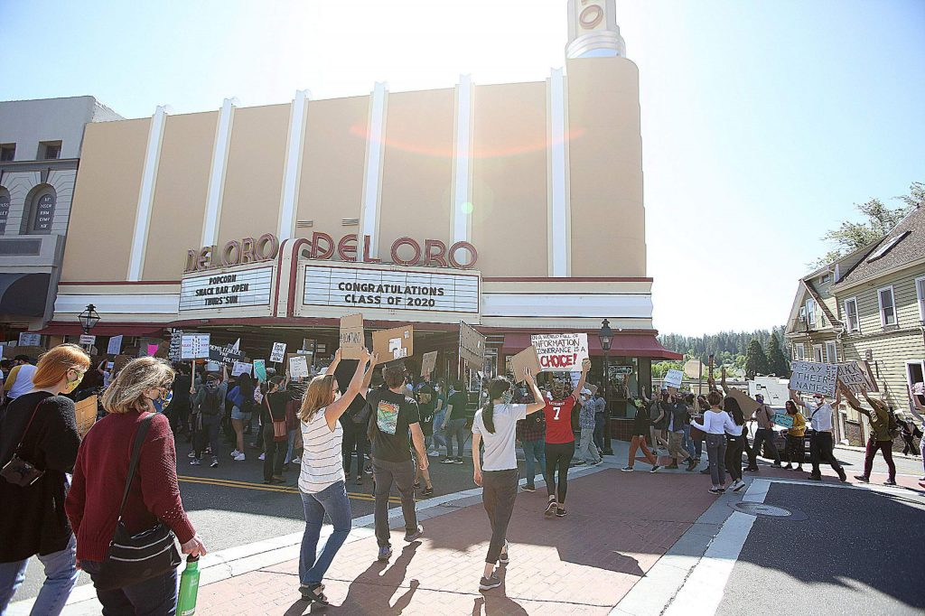 Hundreds gathered in downtown Grass Valley for Saturday's peaceful protest.