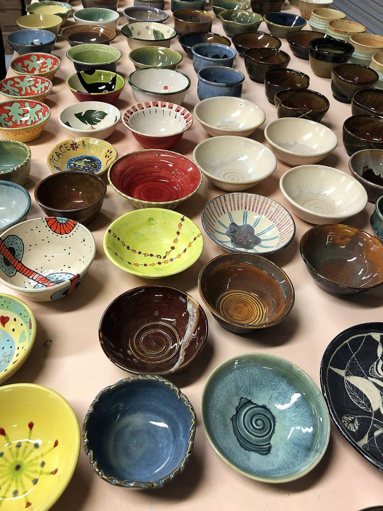 Artist Chic Lotz gifts 100 bowls to Empty Bowl benefit 2020.