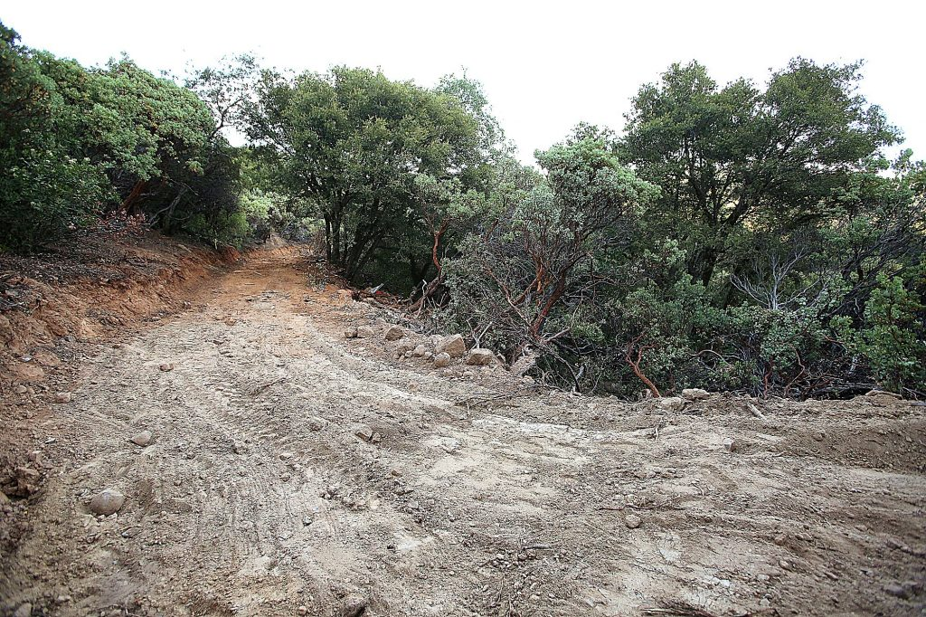 A wide swath of land was recently cleared, as was a trail along the side of Sugarloaf Mountain. The trail has been used to help access and clear out homeless encampments.