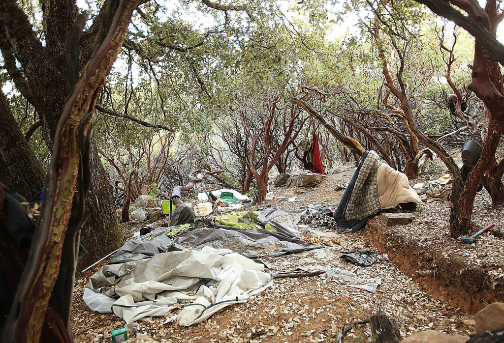 A homeless encampment on Sugarloaf Mountain sits unused following recent efforts by county officials to help house homeless people in hotels. Additional cleanup efforts are being coordinated.