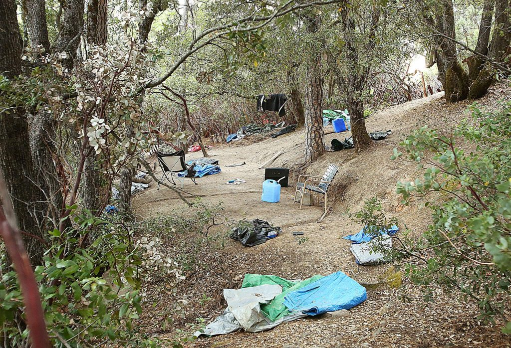 A handful of inhabited homeless encampments remained on Sugarloaf Mountain as of this last weekend.