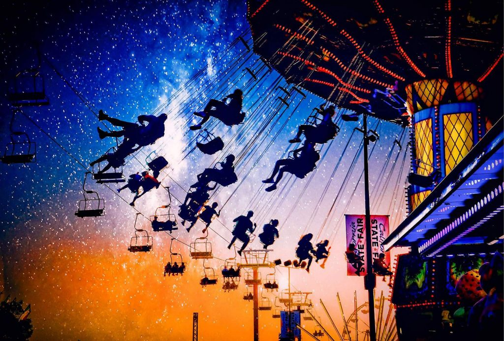 "This photo, ""Starry Night at the Fair,"" represents Kathy Triolo's mastery of digital photo processing with the compositing of three photos into one."