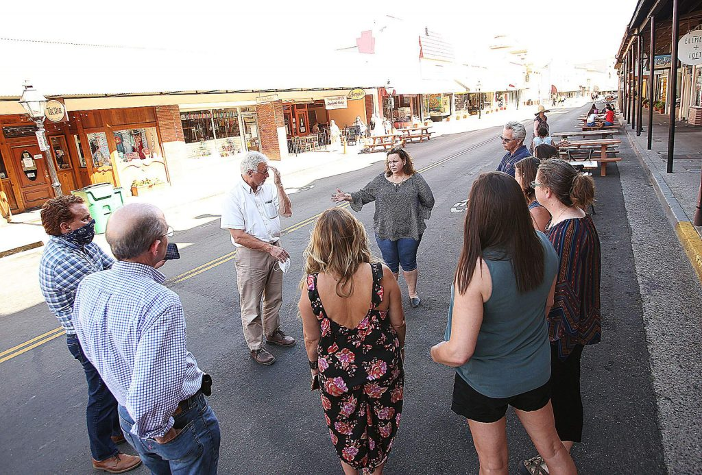 Downtown business owners meet with city of Grass Valley officials on Mill Street Wednesday afternoon.