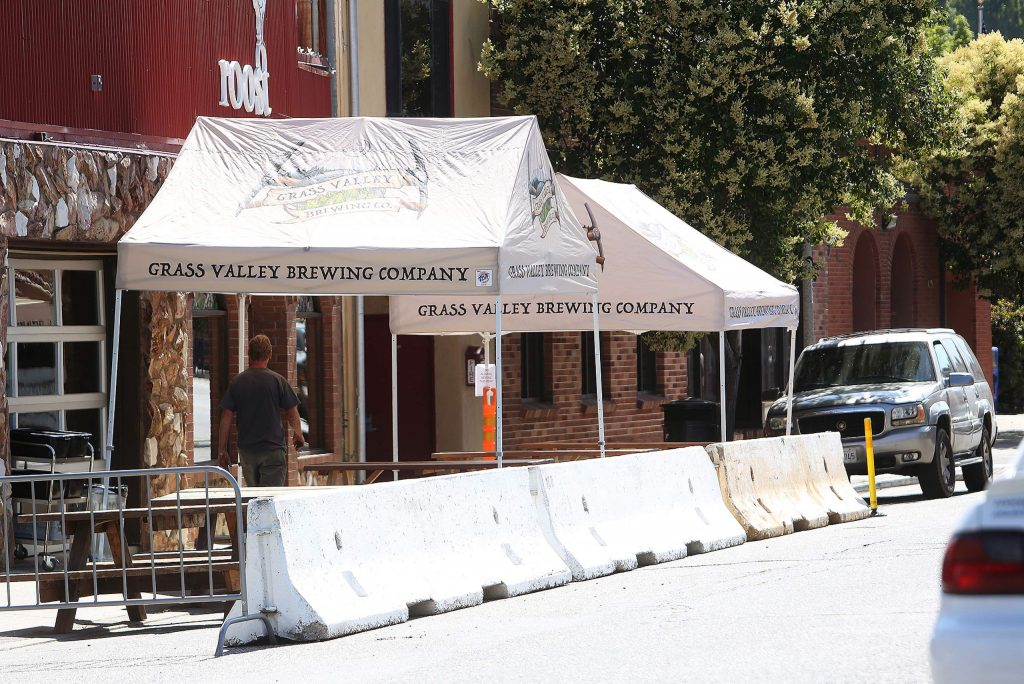 Concrete barricades have also been placed in front of Grass Valley Brewing to allow for outdoor patrons.
