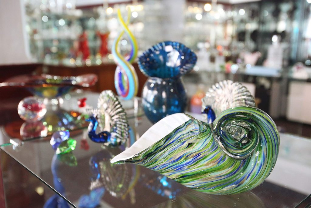 Many intricate and beautiful glass and crystal designs are currently on display at Nevada City Crystal & Glass at the corner of Commercial and Pine streets. The store is still open Thursdays through Mondays as the shop seeks new ownership.