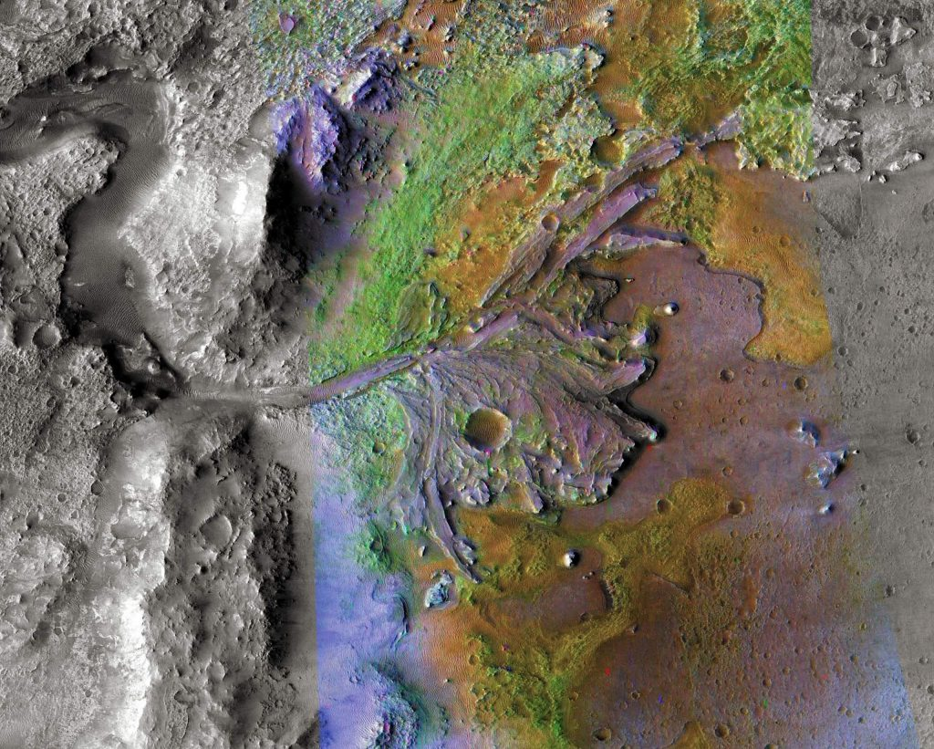 Landing site for robot geologist Perseverance - a river delta on Mars. Colors denote different types of rock.