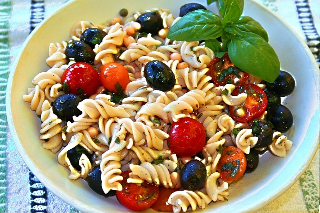 That's Amore Pasta Salad utilizes fresh summer tomatoes and basil.