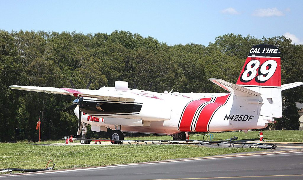 Cal Fire air tanker 89 is back at the Grass Valley air attack base from winter maintenance.