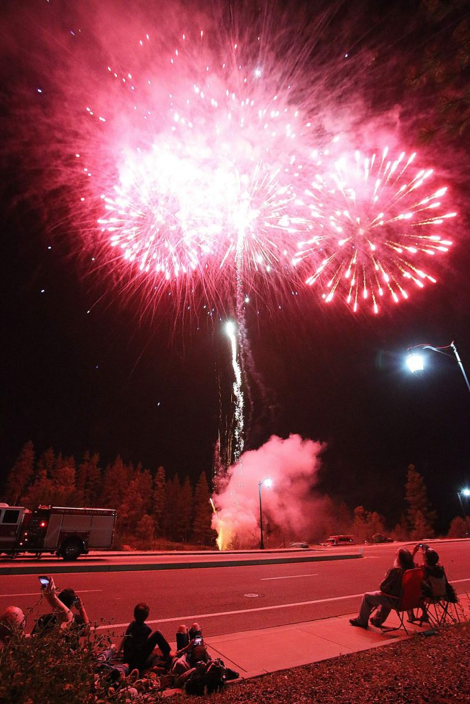Grass Valley's stay at home fireworks show, held in place of the display usually held at the Nevada County Fairgrounds, went off Saturday evening from the Dorsey overpass allowing residents in the Glenbrook Basin and some Nevada City residents to be able to see.