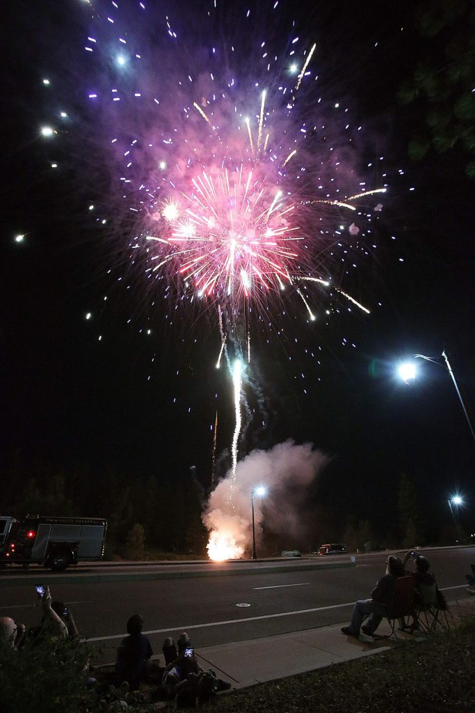 A display of fireworks explodes in the sky above Grass Valley's Dorsey Drive interchange with the Golden Center Freeway.