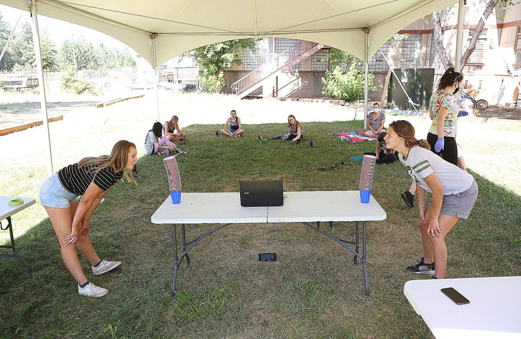 A pair of Friendship Club day camp attendees face off as they ready to take part in a friendly competition.