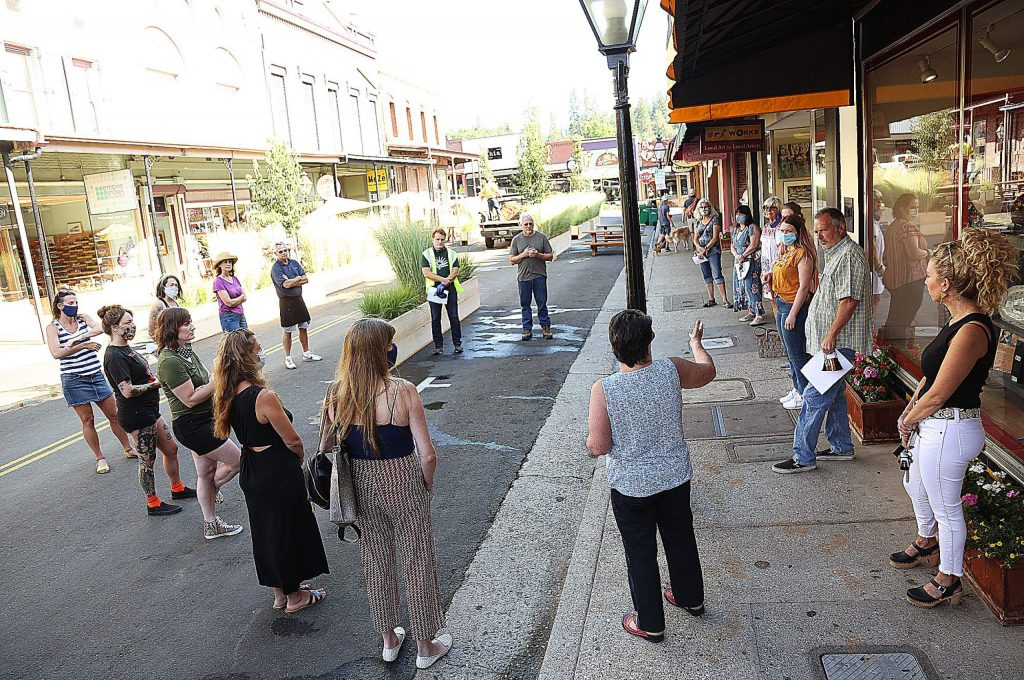 A group of concerned downtown Grass Valley business owners meets with Grass Valley City Manager Tim Kiser and Community Development Director Tom Last Friday morning to discuss the changes being made to Mill Street.